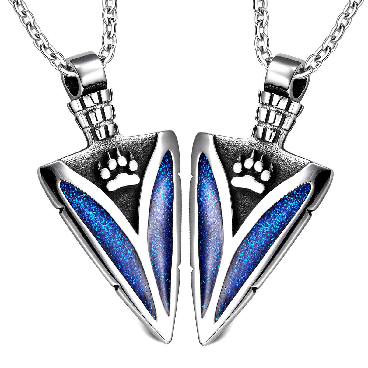 Arrowhead Wild Wolf Paw Love Couples Best Friends Set Protection Amulets Sparkling Royal Blue Necklaces