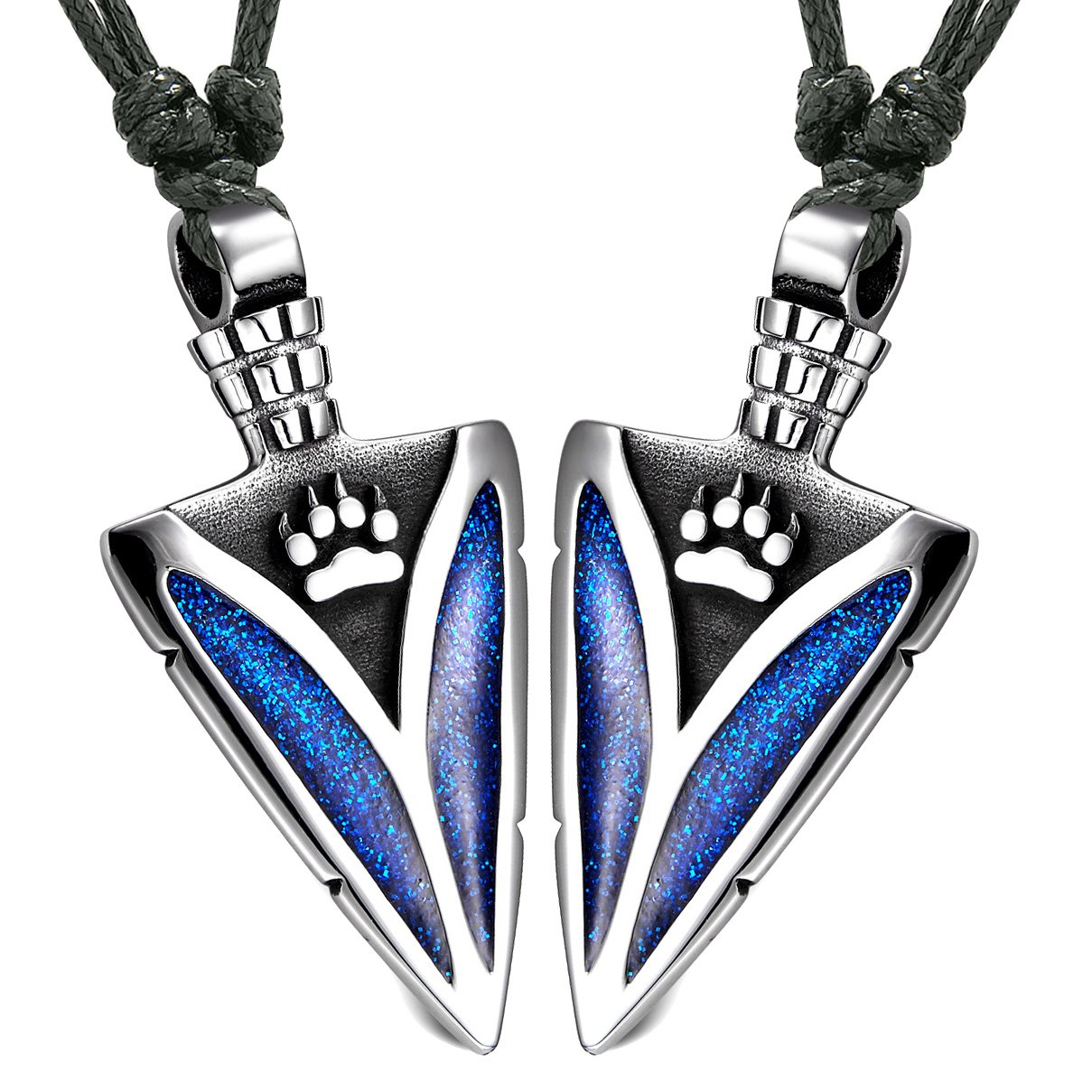 Arrowhead Wild Wolf Paw Love Couples Best Friends Set Amulets Sparkling Royal Blue Adjustable Necklaces
