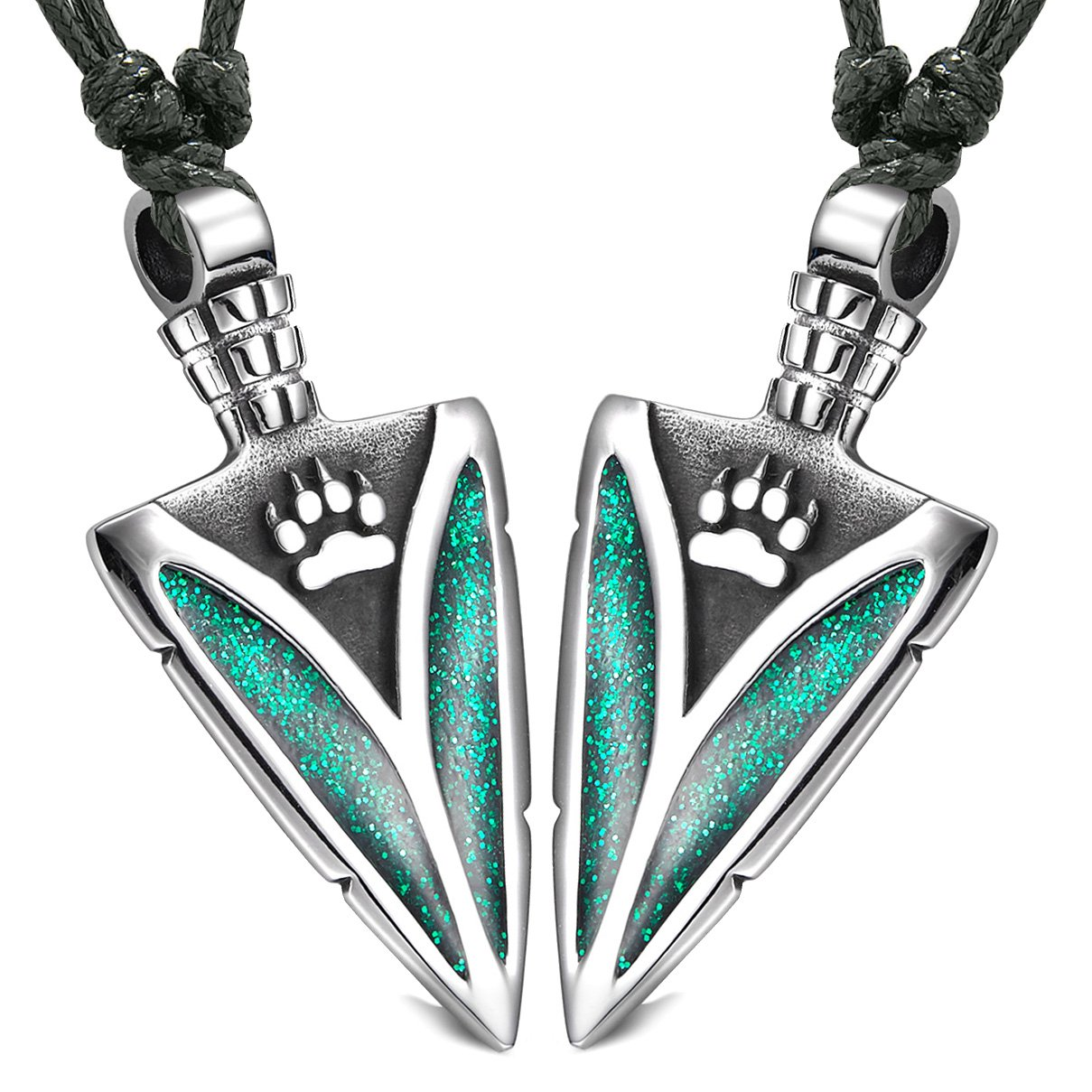Arrowhead Wild Wolf Paw Love Couples Best Friends Set Amulets Sparkling Royal Green Adjustable Necklaces