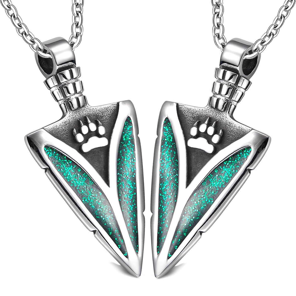 Arrowhead Wild Wolf Paw Love Couples Best Friends Set Protection Amulets Sparkling Royal Green Necklaces