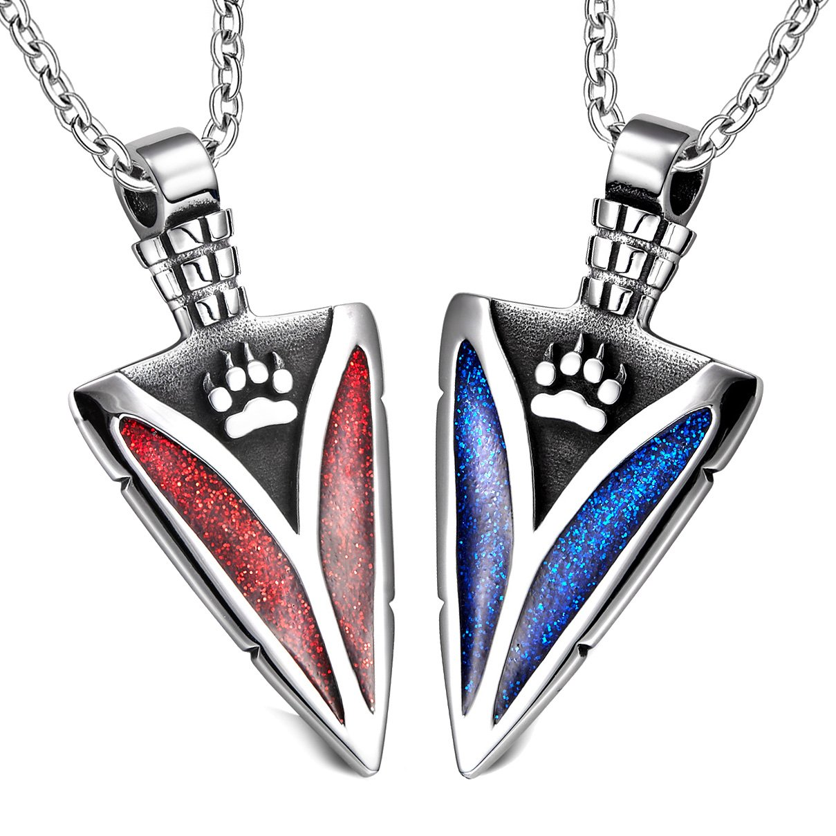Arrowhead Wild Wolf Paw Love Couples or BFF Set Protection Amulets Sparkling Royal Blue Red Necklaces