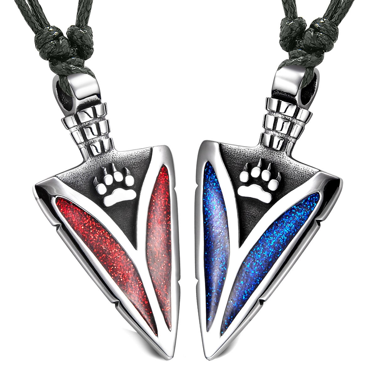 Arrowhead Wild Wolf Paw Love Couples or BFF Set Amulets Sparkling Royal Blue Red Adjustable Necklaces