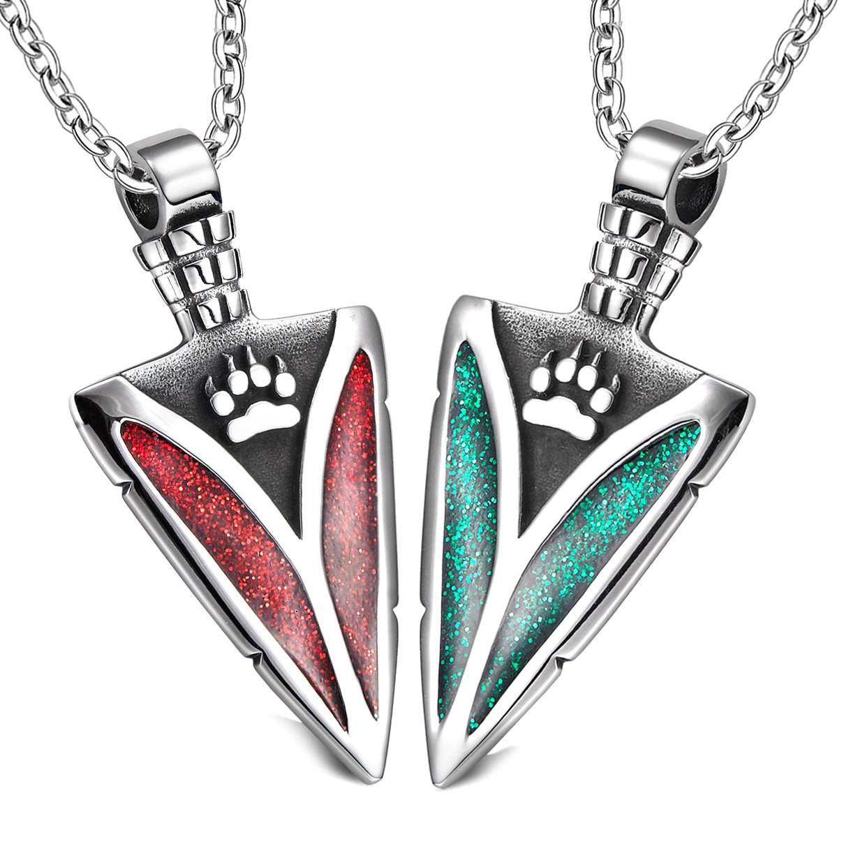 Arrowhead Wild Wolf Paw Love Couples or BFF Set Protection Amulets Sparkling Royal Green Red Necklaces