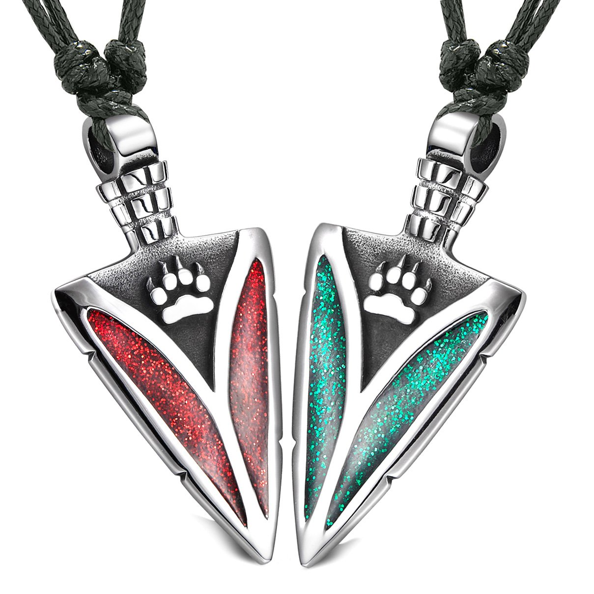 Arrowhead Wild Wolf Paw Love Couples or BFF Set Amulets Sparkling Royal Green Red Adjustable Necklaces