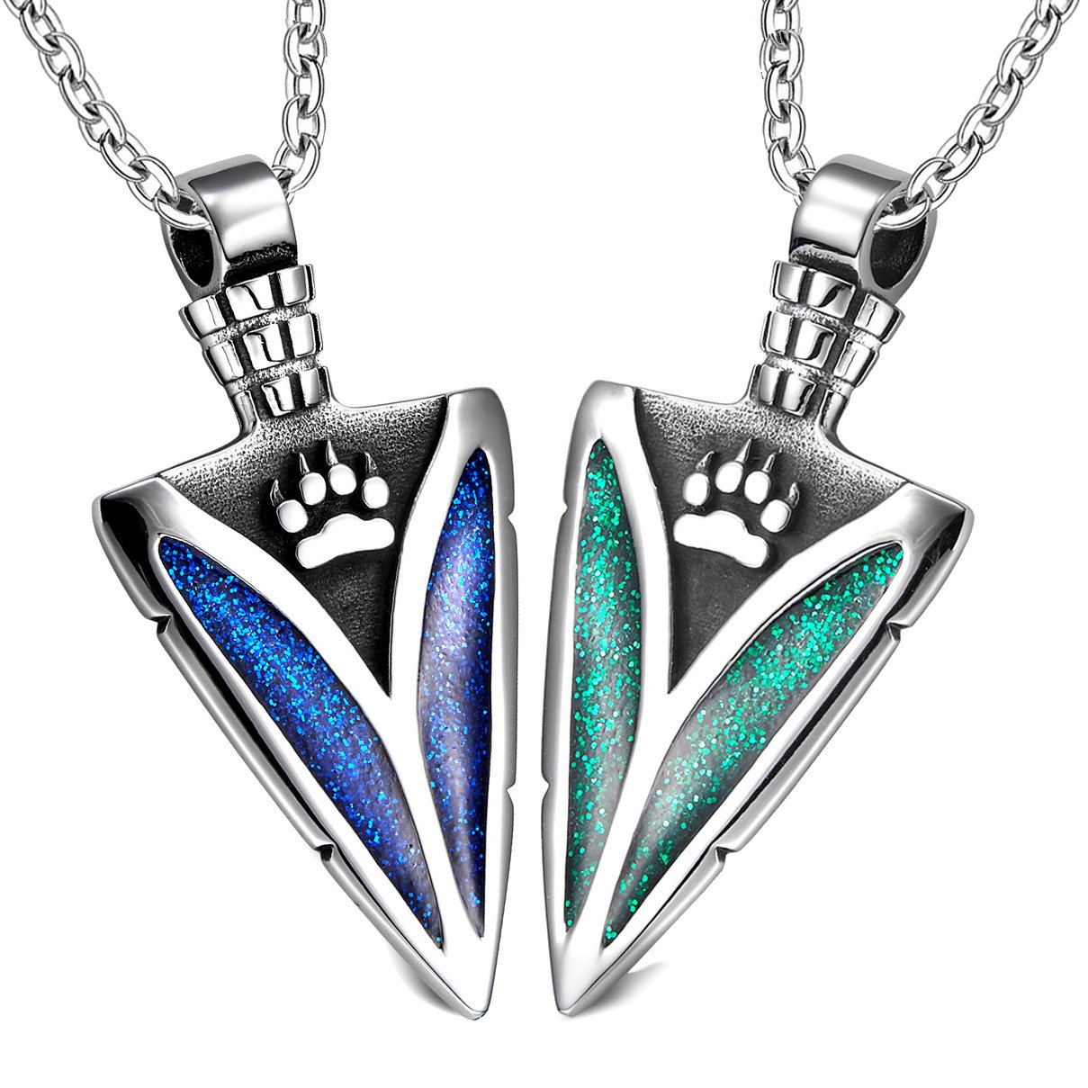 Arrowhead Wild Wolf Paw Love Couples or BFF Set Protection Amulets Sparkling Royal Blue Green Necklaces