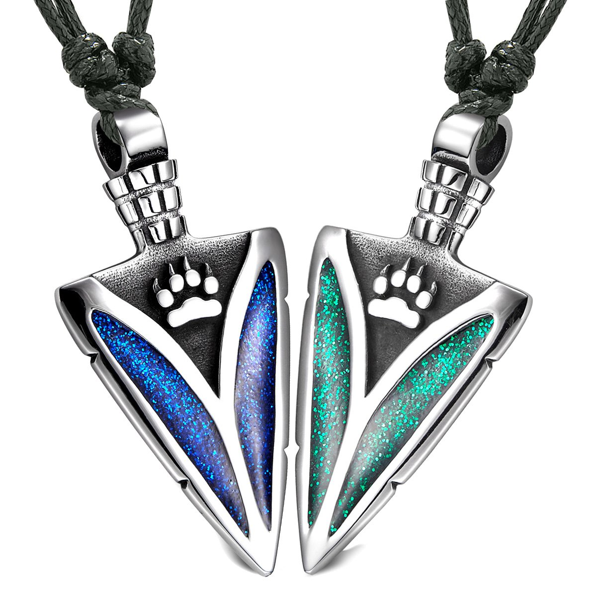 Arrowhead Wild Wolf Paw Love Couples or BFF Set Amulets Sparkling Royal Blue Green Adjustable Necklaces
