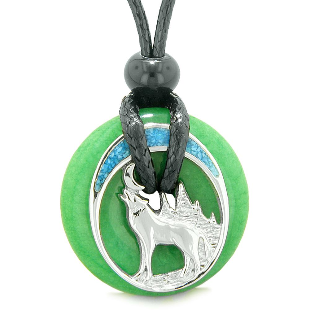 Unique Magic Howling Wolf Moon Amulet Lucky Donut Green Quartz Spiritual Protection Powers Necklace
