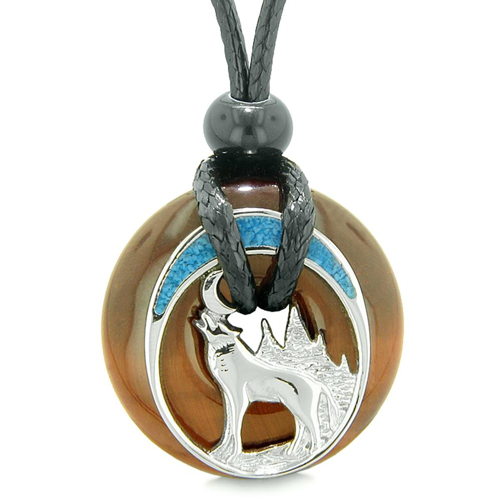 Unique Magic Howling Wolf Moon Amulet Lucky Donut Red Tiger Eye Spiritual Protection Powers Necklace