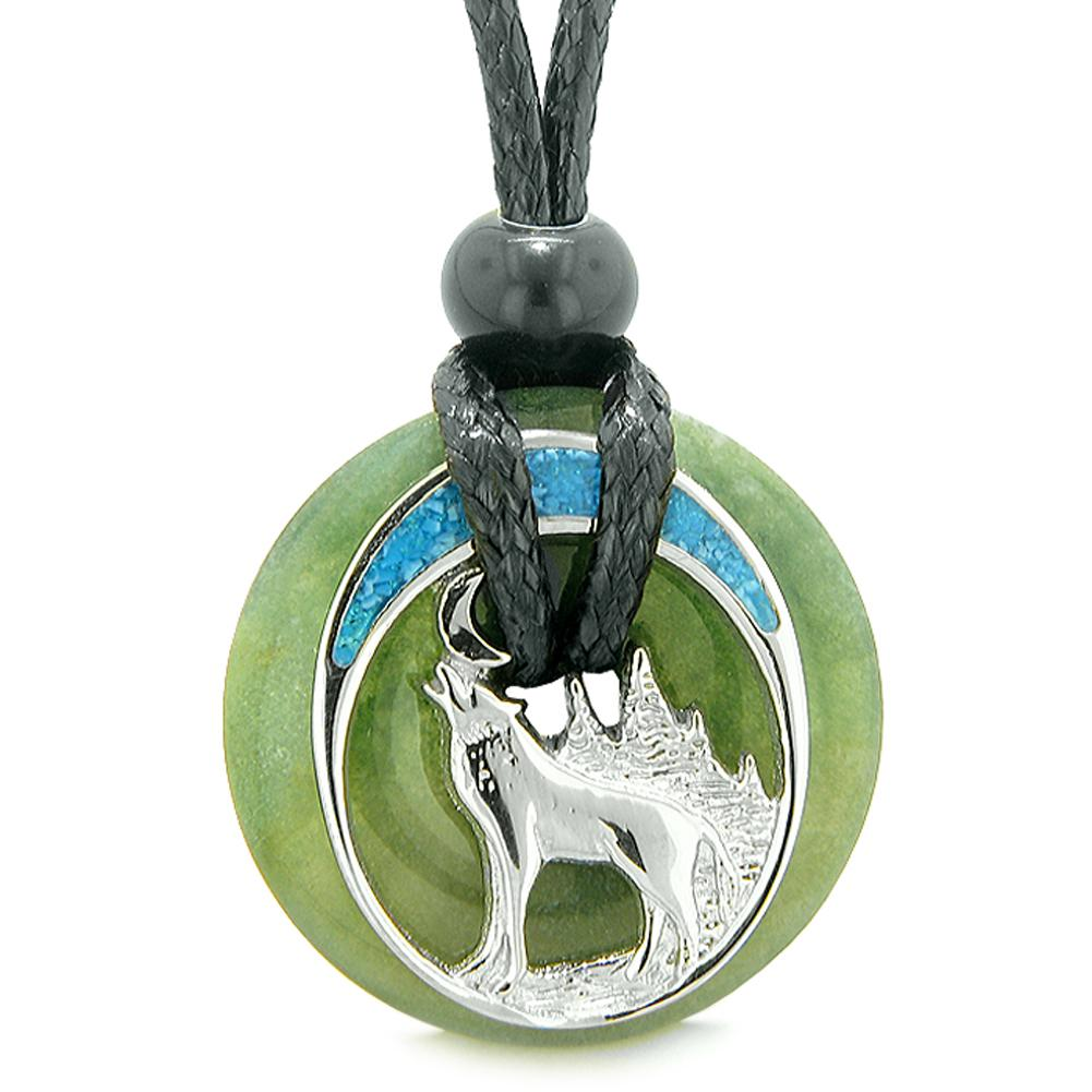 Unique Magic Howling Wolf Moon Amulet Lucky Donut Indian Green Agate Spiritual Protection Powers Necklace