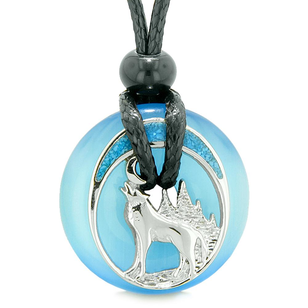 Unique Magic Howling Wolf Moon Amulet Lucky Donut Blue Simulated Cats Eye Spiritual Protection Necklace