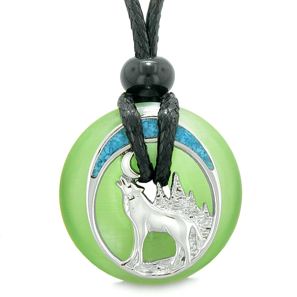 Unique Magic Howling Wolf Moon Amulet Lucky Donut Green Simulated Cats Eye Spiritual Protection Necklace