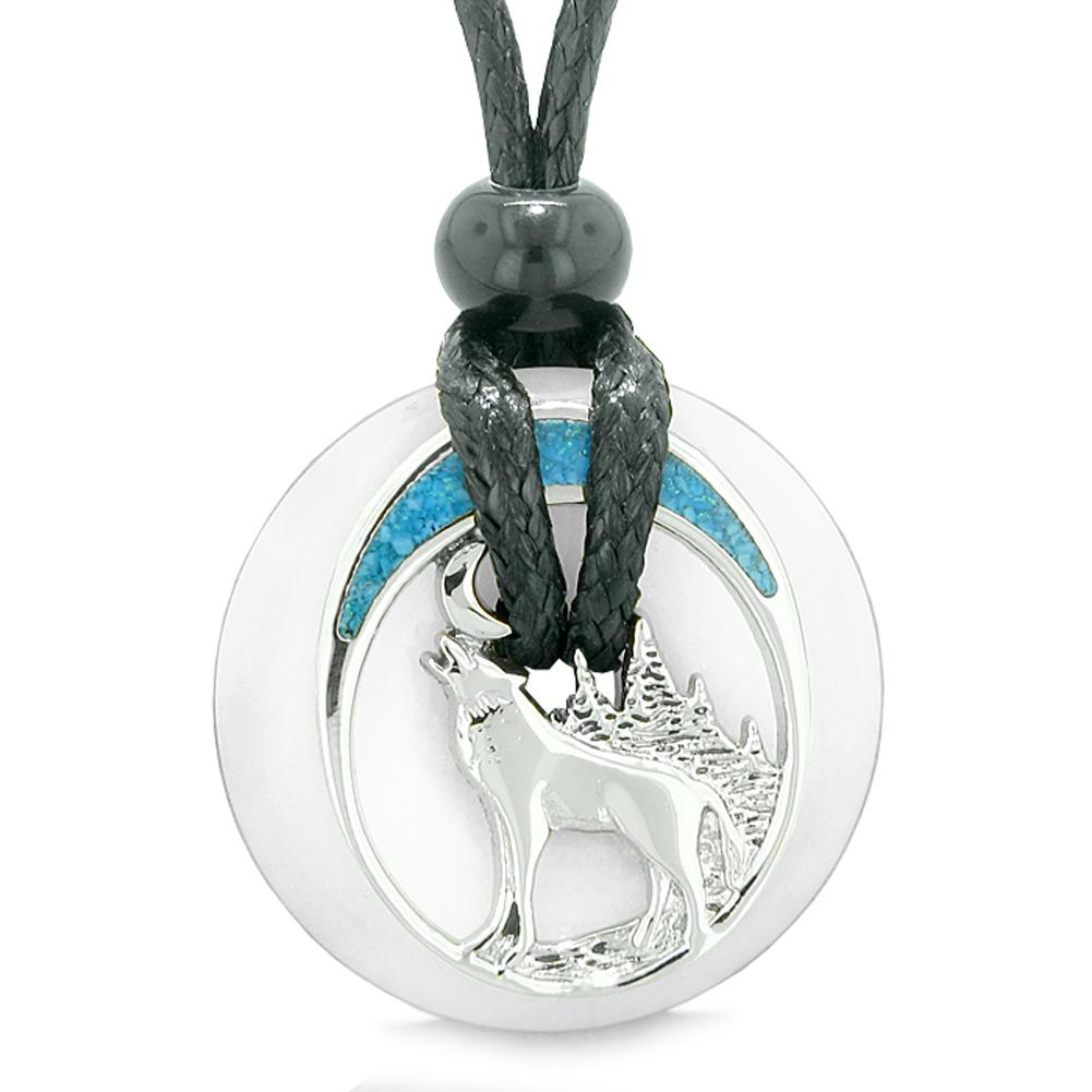 Unique Magic Howling Wolf Moon Amulet Lucky Donut White Quartz Spiritual Protection Powers Necklace
