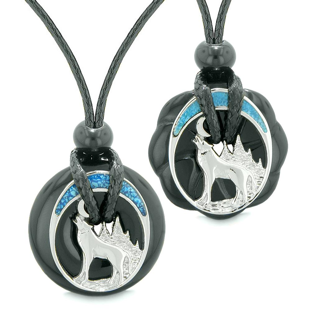Unique Howling Wolf Moon Amulet Lucky Donuts Love Couples or Best Friends Set Black Agate Necklaces