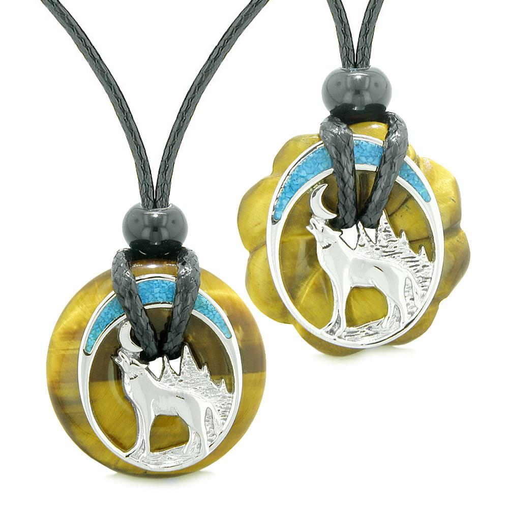 Unique Howling Wolf Moon Amulet Lucky Donuts Love Couples or Best Friends Set Tiger Eye Necklaces