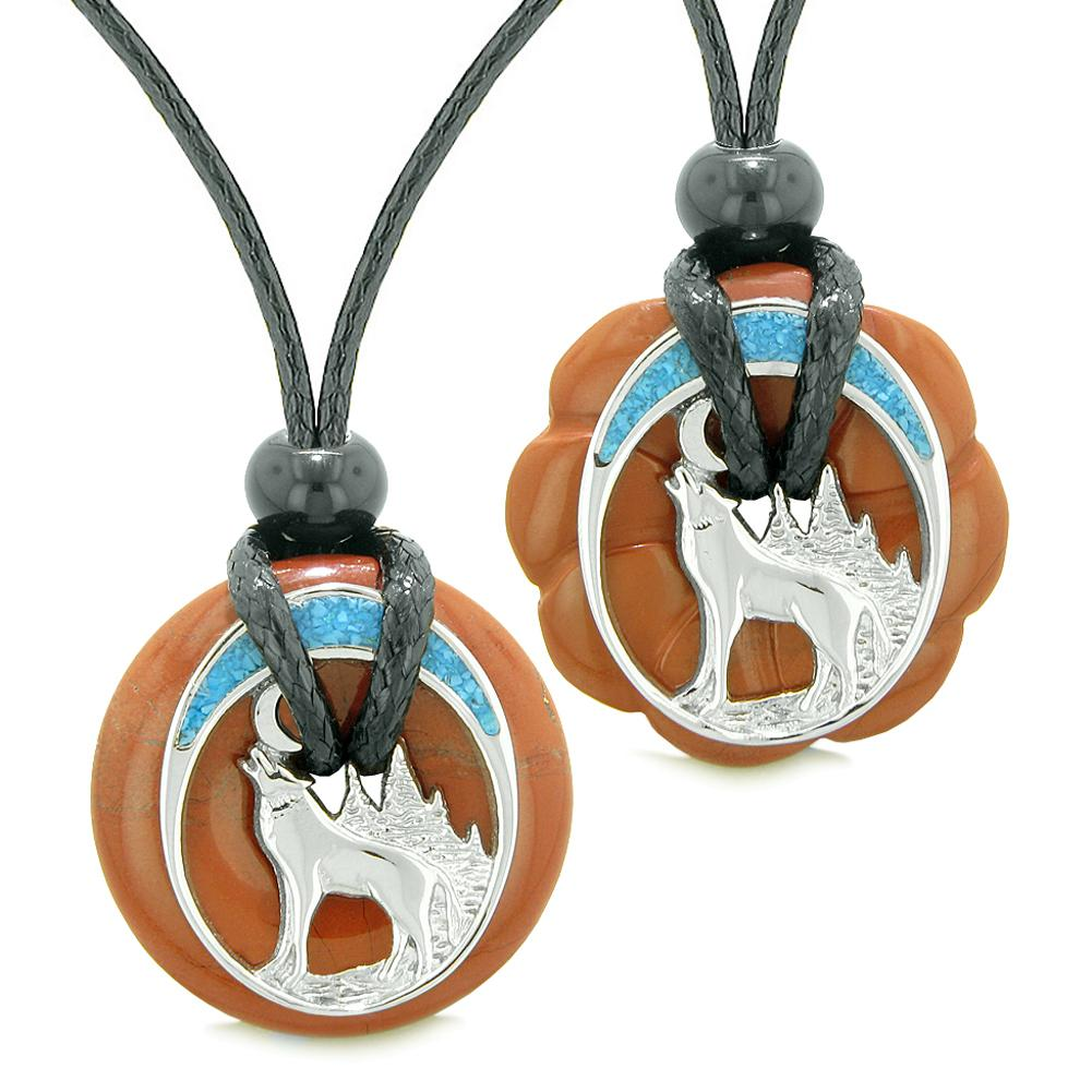Unique Howling Wolf Moon Amulet Lucky Donuts Love Couples or Best Friends Set Red Jasper Necklaces