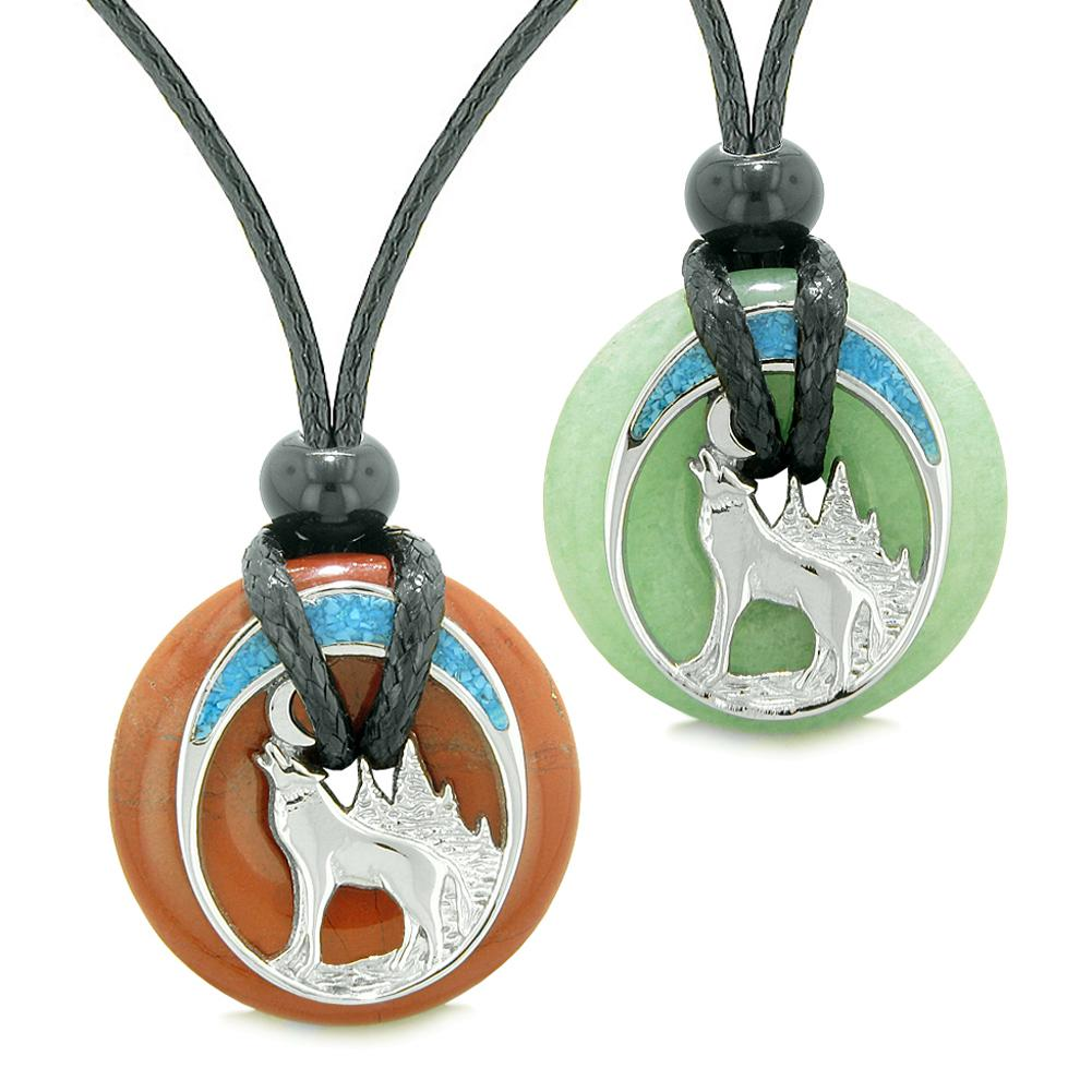 Unique Howling Wolf Moon Magic Amulet Lucky Donuts Love Couples Set Red Jasper Green Quartz Necklaces
