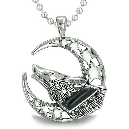 Howling Courage Wolf Moon and Stars Amulet Positive Earth Energy Black Onyx Gem Necklace