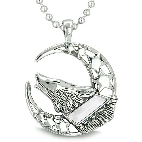 Howling Courage Wolf Moon Stars Amulet Positive Earth Energy Cats Eye Protection Pendant Necklace