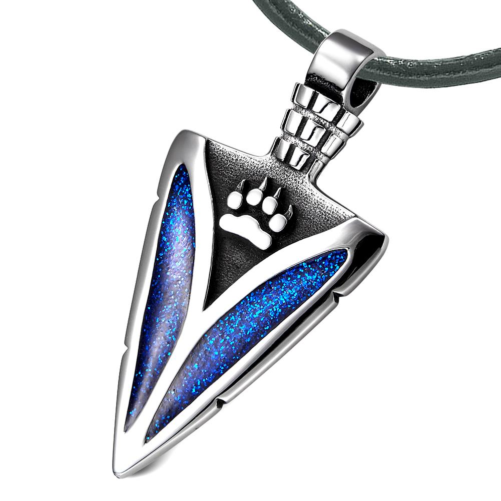 Arrowhead Wolf Paw Brave Wild Powers Protection Amulet Sparkling Royal Blue Pendant Leather Necklace