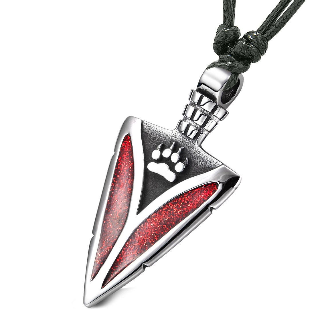 Arrowhead Wolf Paw Brave Wild Powers Protection Amulet Sparkling Royal Red Pendant Adjustable Necklace