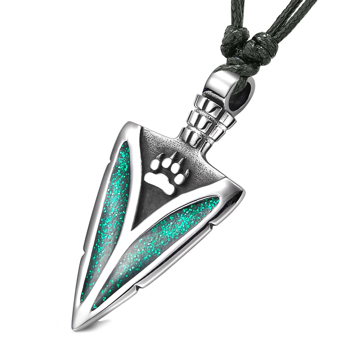 Arrowhead Wolf Paw Brave Wild Powers Protection Amulet Sparkling Royal Green Pendant Adjustable Necklace