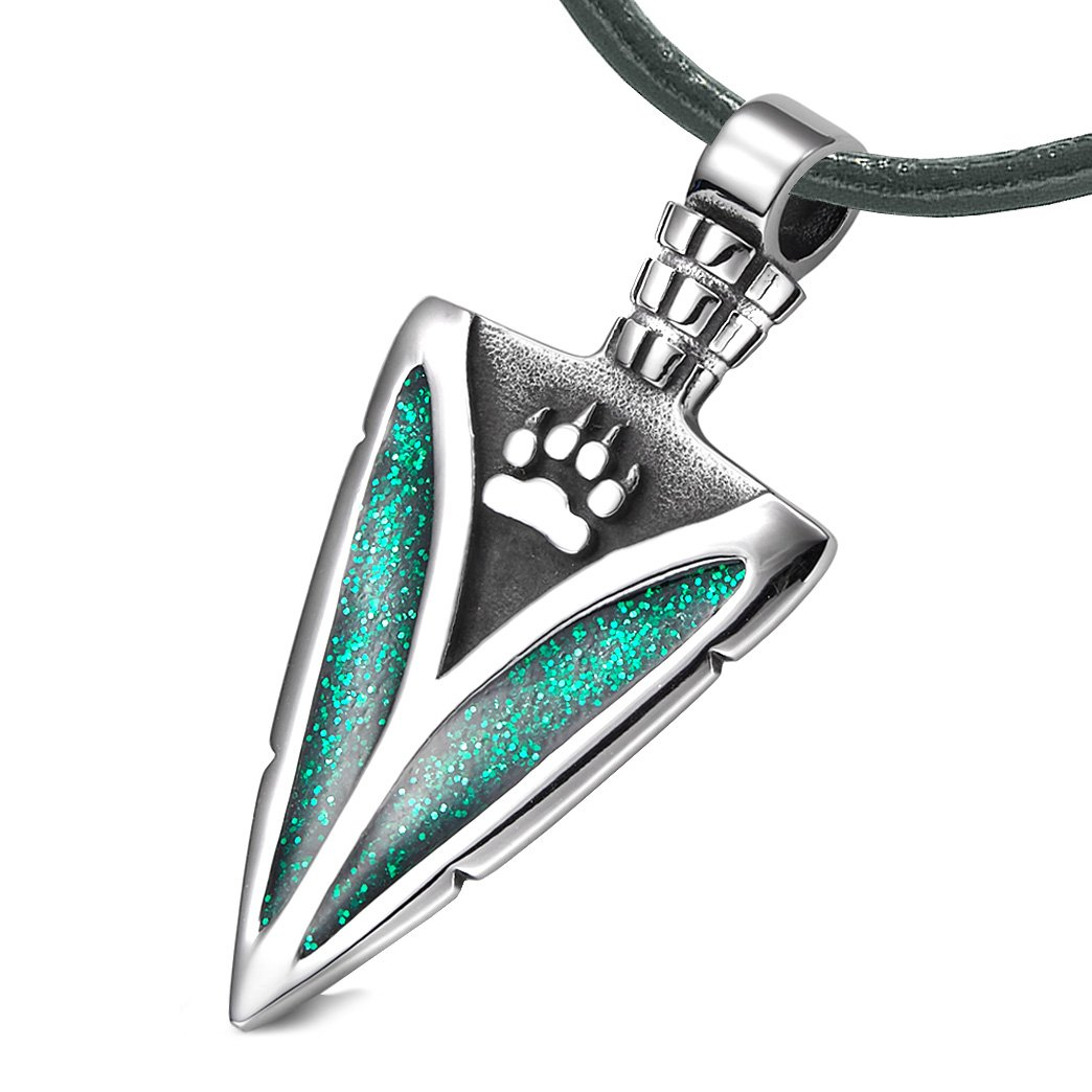 Arrowhead Wolf Paw Brave Wild Powers Protection Amulet Sparkling Royal Green Pendant Leather Necklace