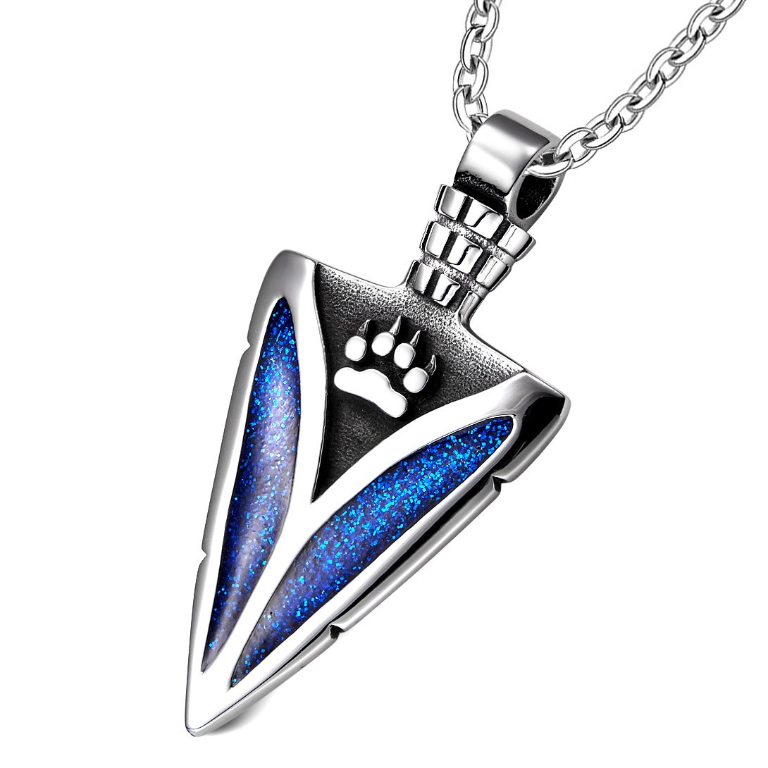 Arrowhead Wolf Paw Brave Wild Powers Protection Amulet Sparkling Royal Blue Pendant 18 Inch Necklace