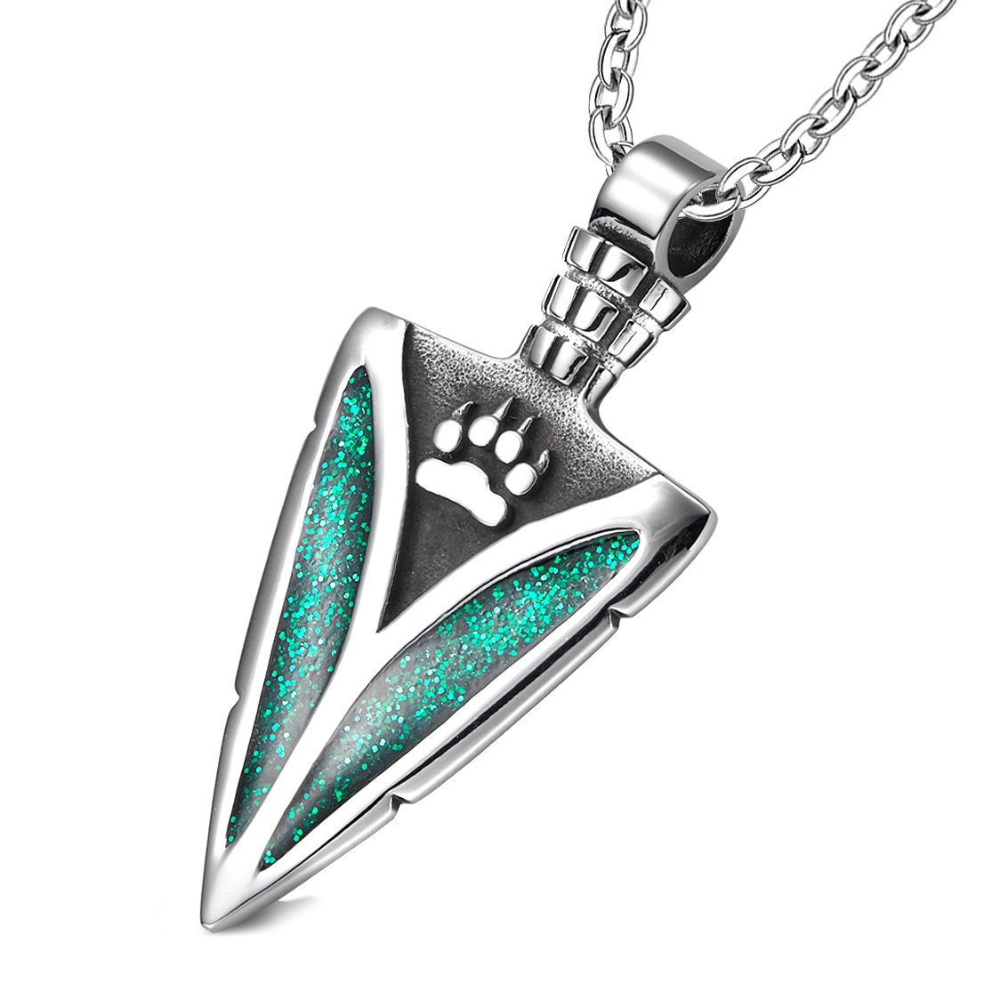 Arrowhead Wolf Paw Brave Wild Powers Protection Amulet Sparkling Royal Green Pendant 22 Inch Necklace