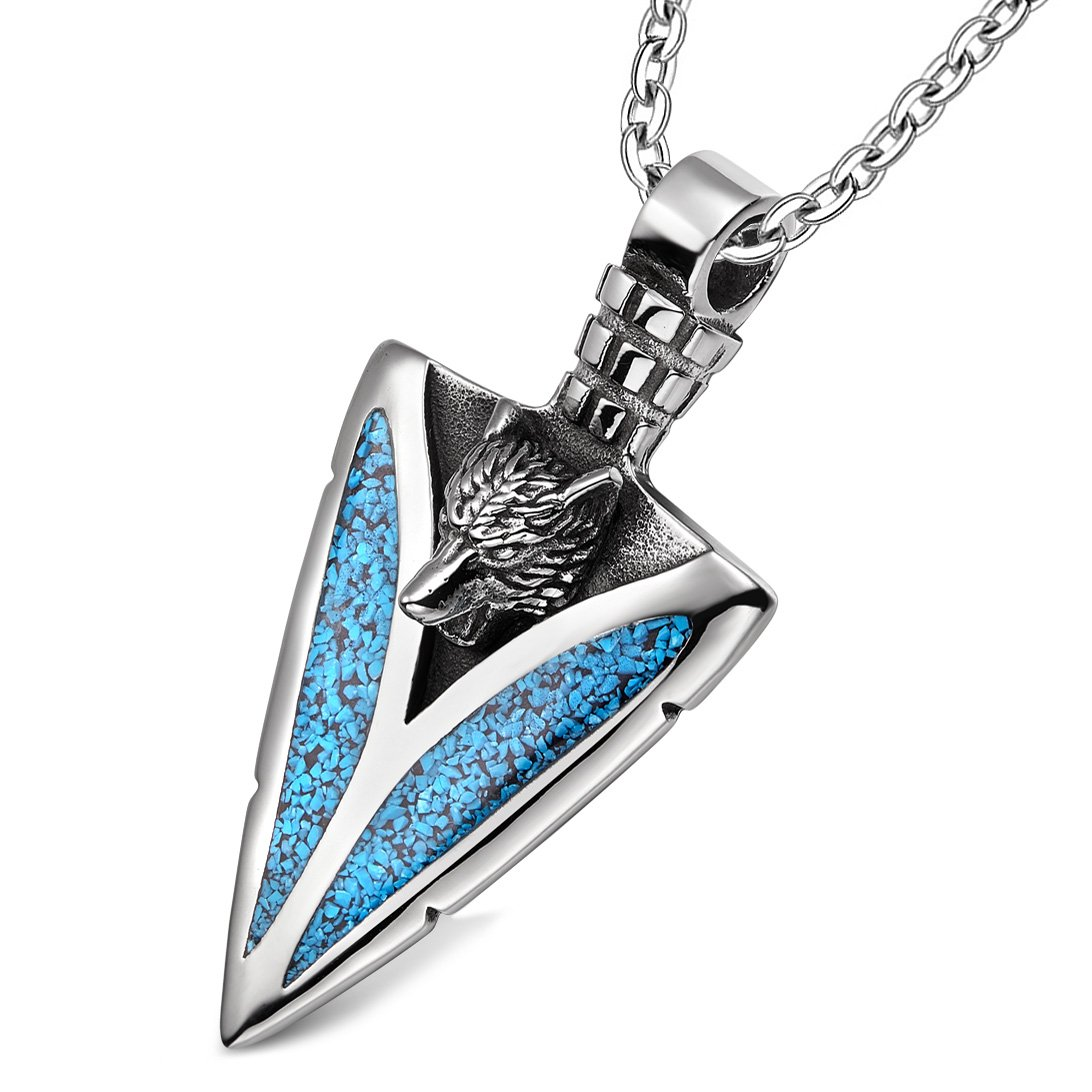 Arrowhead Howling Wolf Courage Power Protection Amulet Charm Simulated Turquoise Pendant 22 Inch Necklace
