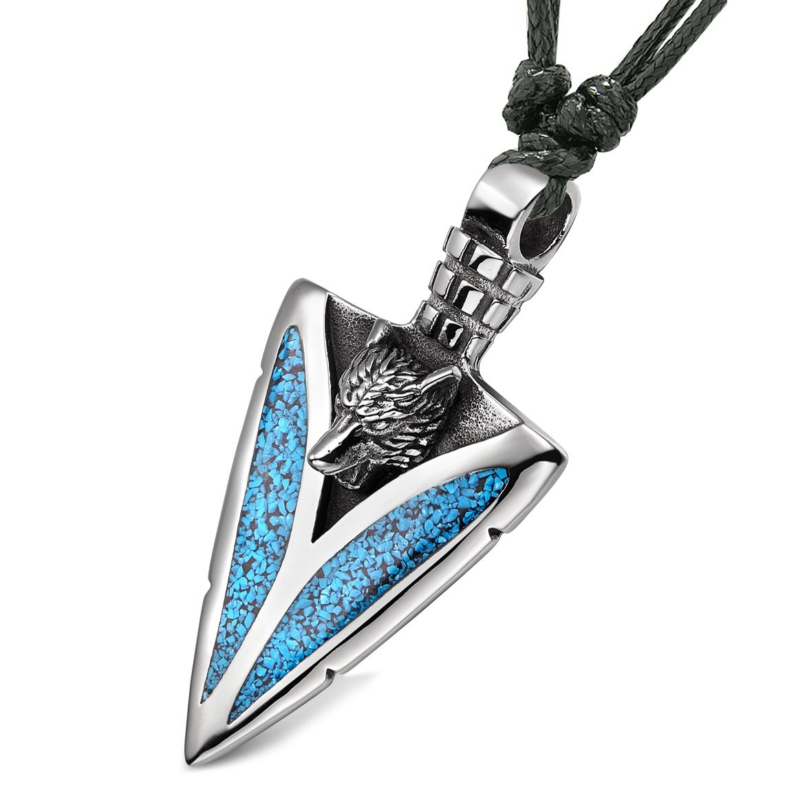 Arrowhead Howling Wolf Courage Powers Protection Amulet Charm Simulated Turquoise Adjustable Necklace