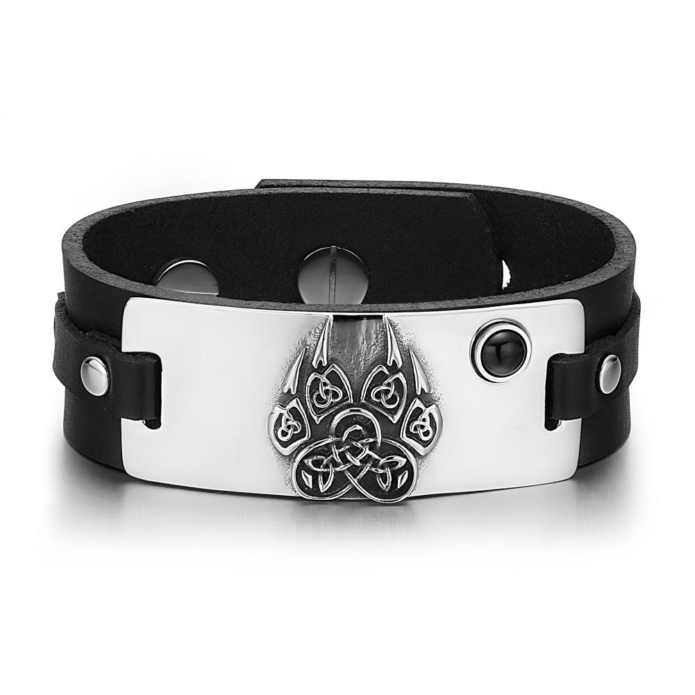 Aztecs Ancient Celtic Knots Wolf Paw Amulet Simulated Black Onyx Adjustable Black Leather Bracelet