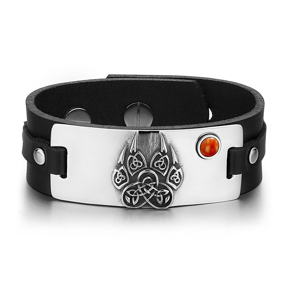 Aztecs Ancient Celtic Knots Wolf Paw Amulet Red Jasper Gemstone Adjustable Black Leather Bracelet