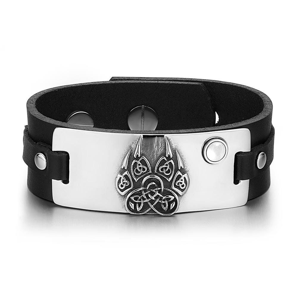 Aztec Ancient Celtic Knots Wolf Paw Amulet White Simulated Cats Eye Black Leather Bracelet