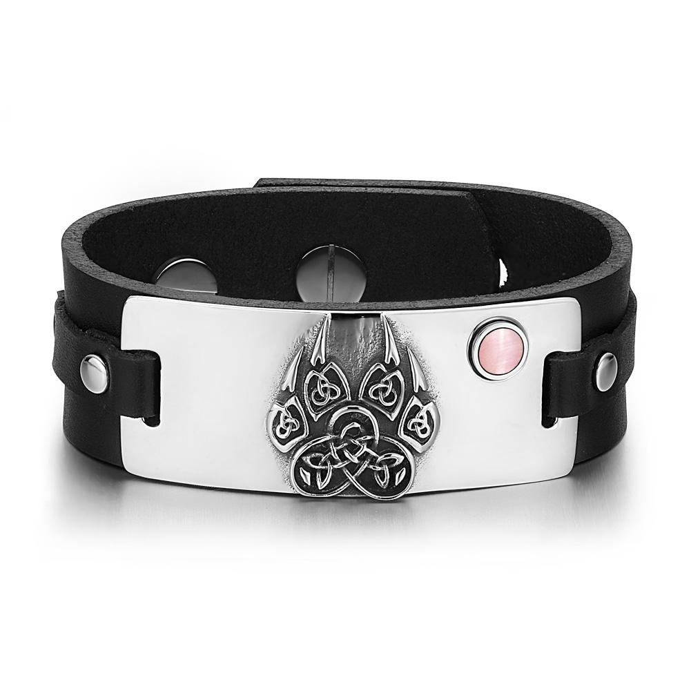 Aztecs Ancient Celtic Knots Wolf Paw Amulet Pink Simulated Cats Eye Black Leather Bracelet