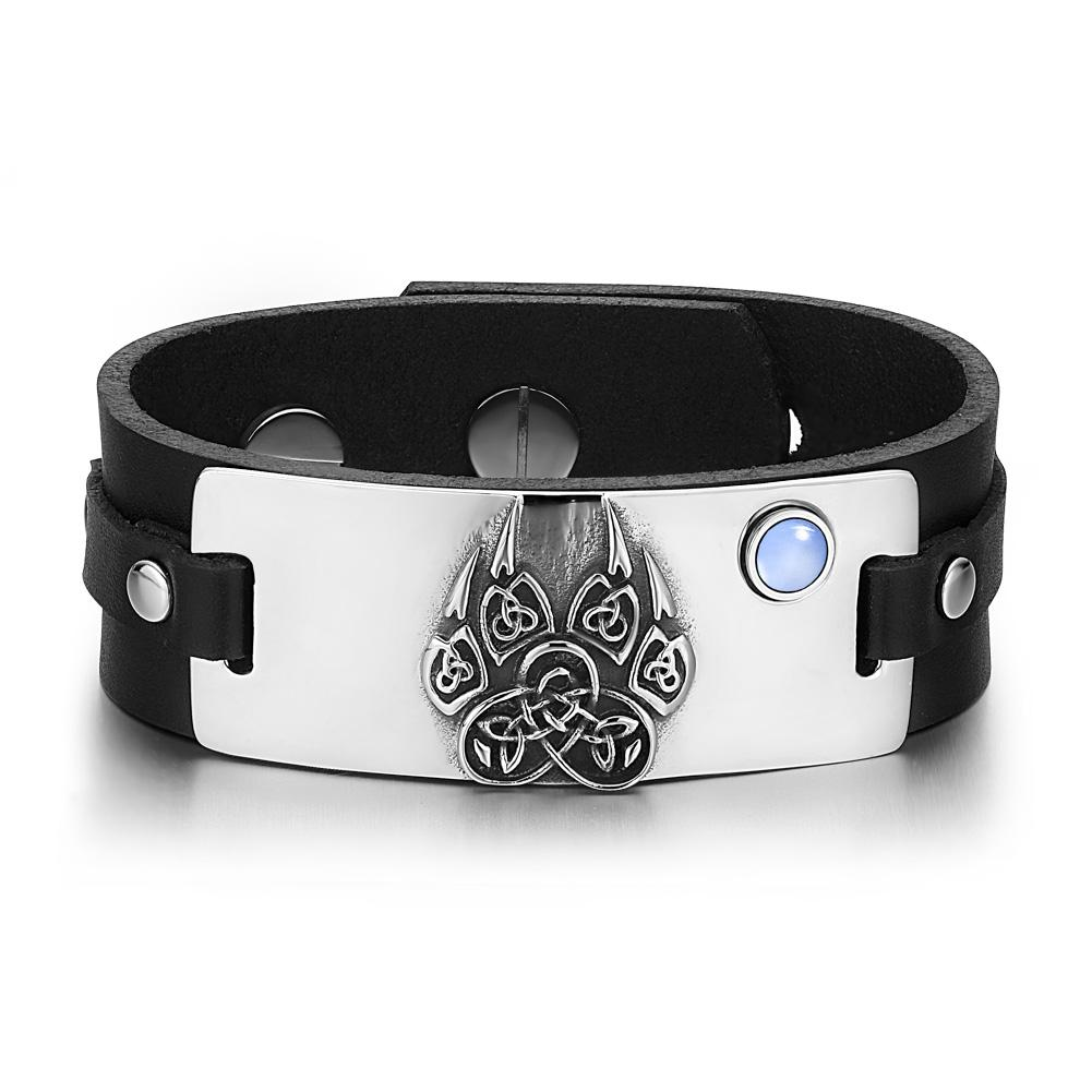 Aztecs Ancient Celtic Knots Wolf Paw Amulet Blue Simulated Cats Eye Black Leather Bracelet