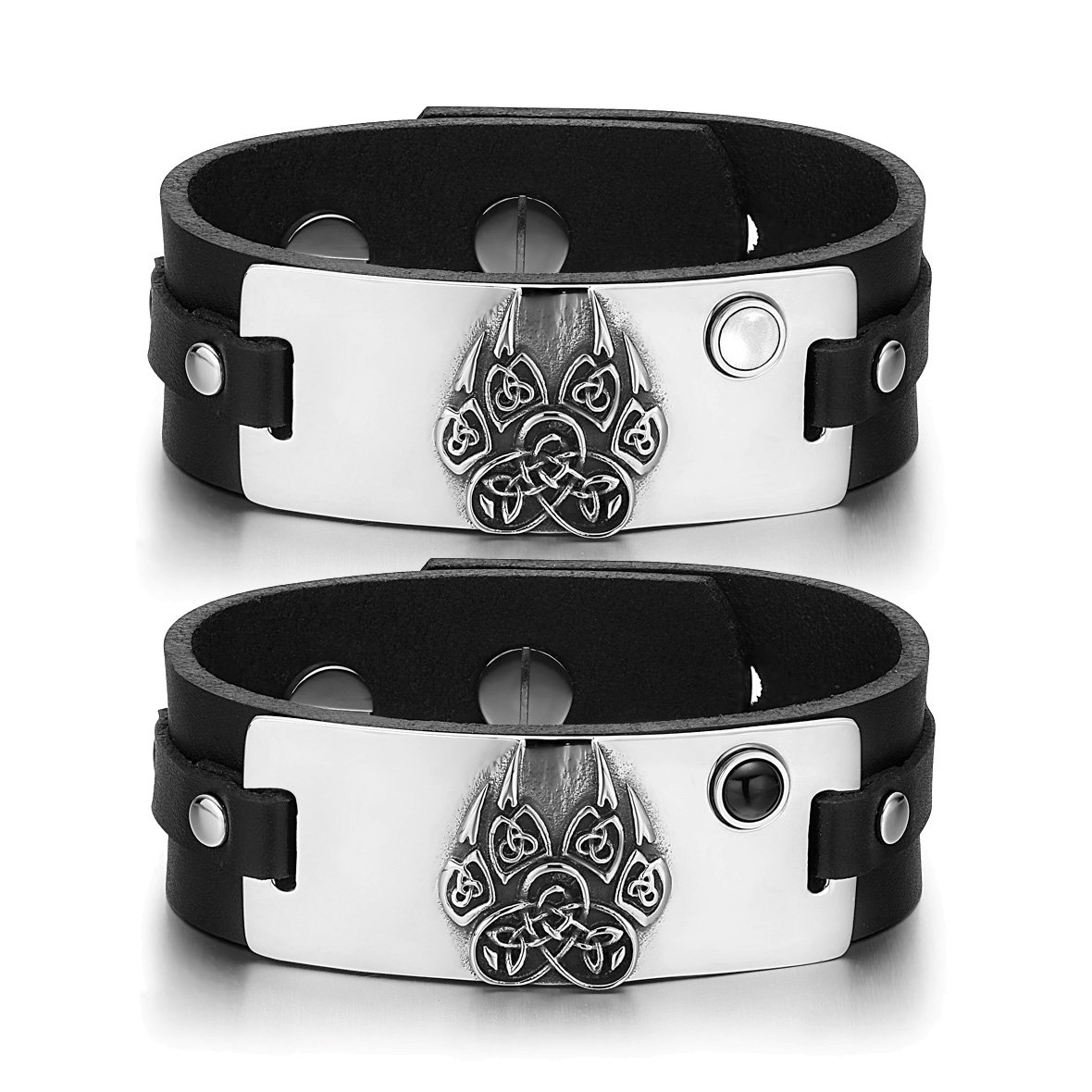 Aztecs Celtic Knots Wolf Paw Love White Simulated Cats Eye Simulated Onyx Black Leather Bracelets