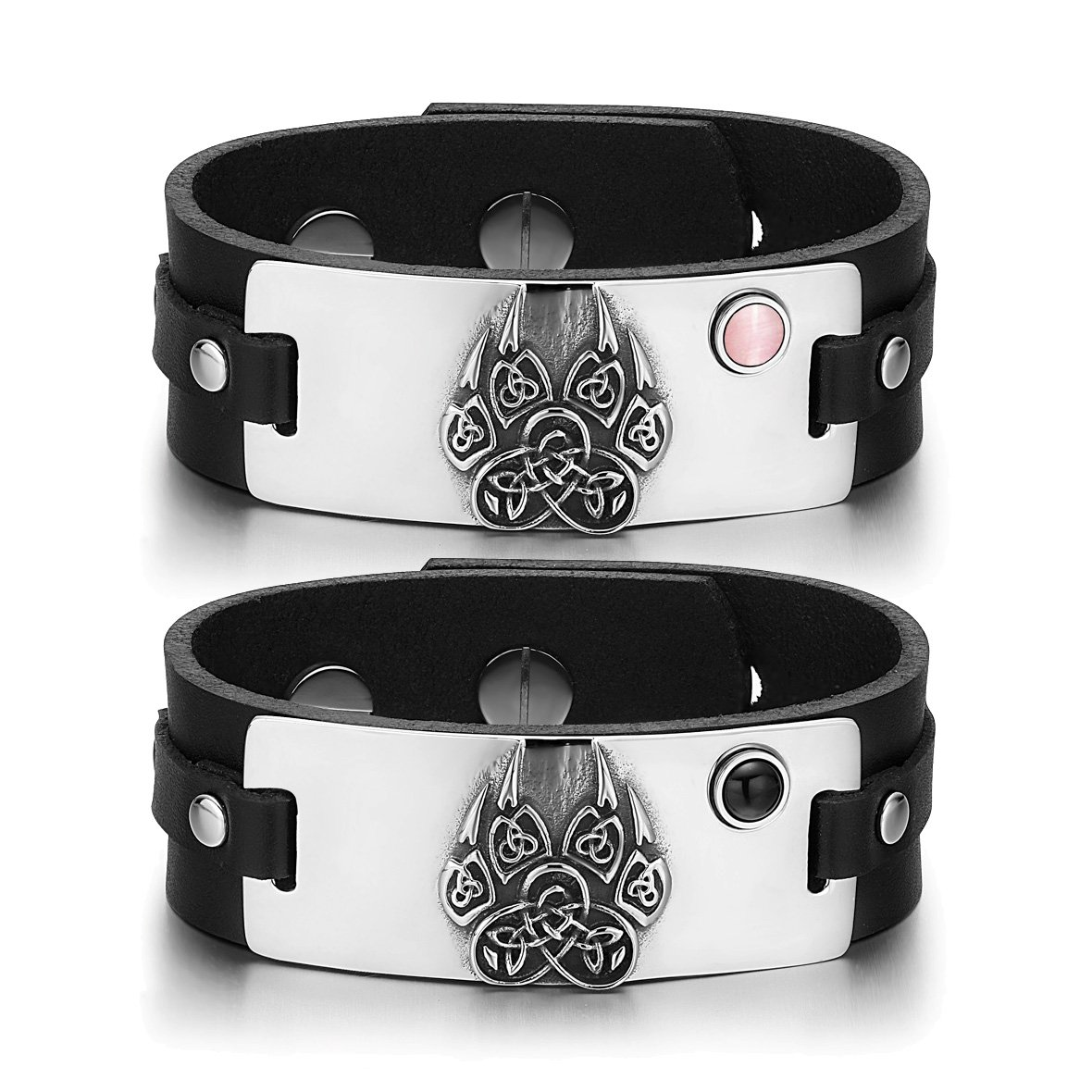 Aztecs Celtic Knots Wolf Paw Love Pink Simulated Cats Eye Simulated Onyx Black Leather Bracelets