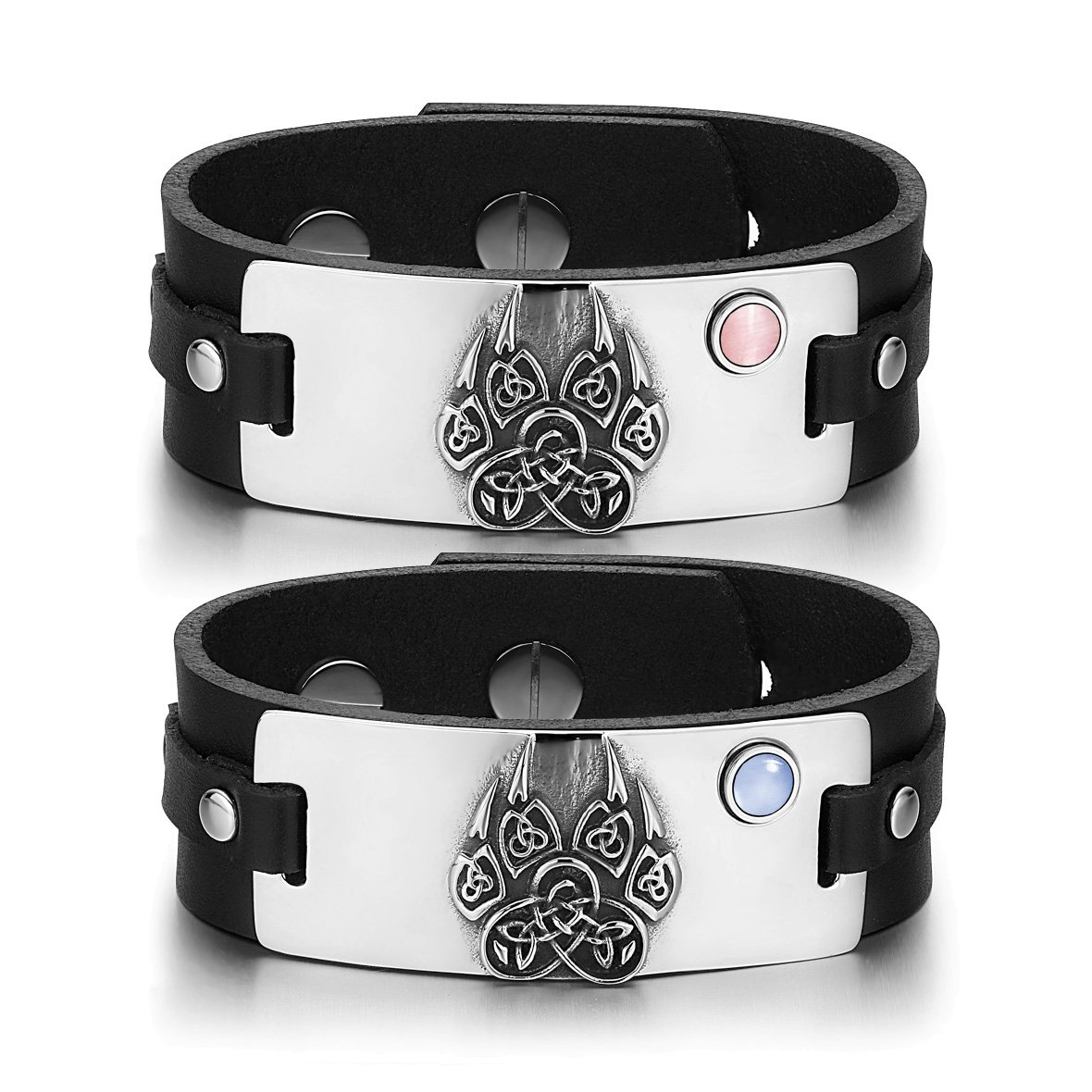 Aztecs Celtic Knots Wolf Paw Amulets Love Pink Blue Simulated Cats Eye Black Leather Bracelets