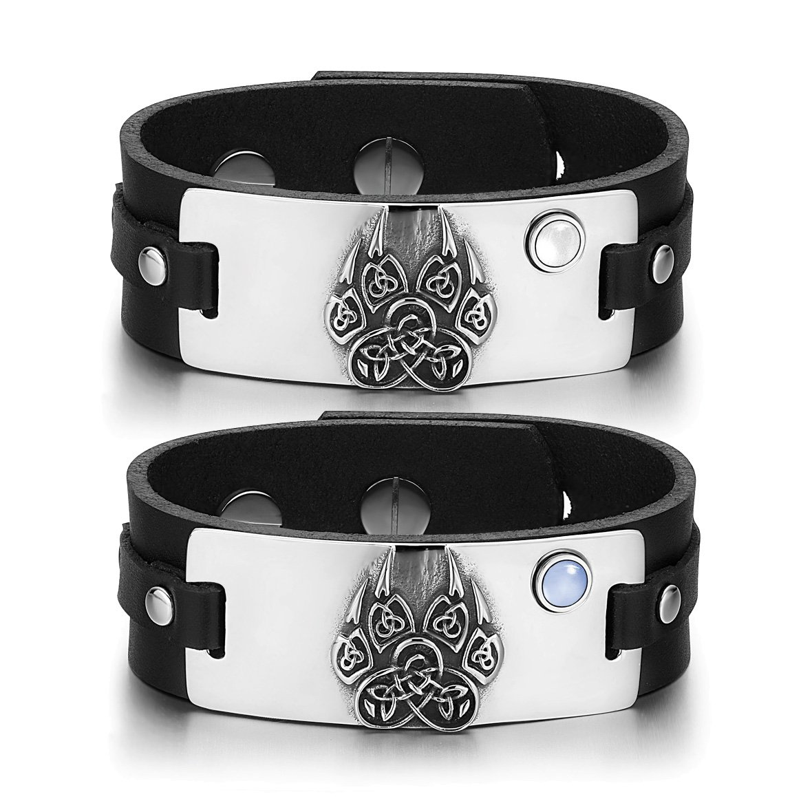 Aztecs Celtic Knots Wolf Paw Amulets Love White Blue Simulated Cats Eye Black Leather Bracelets
