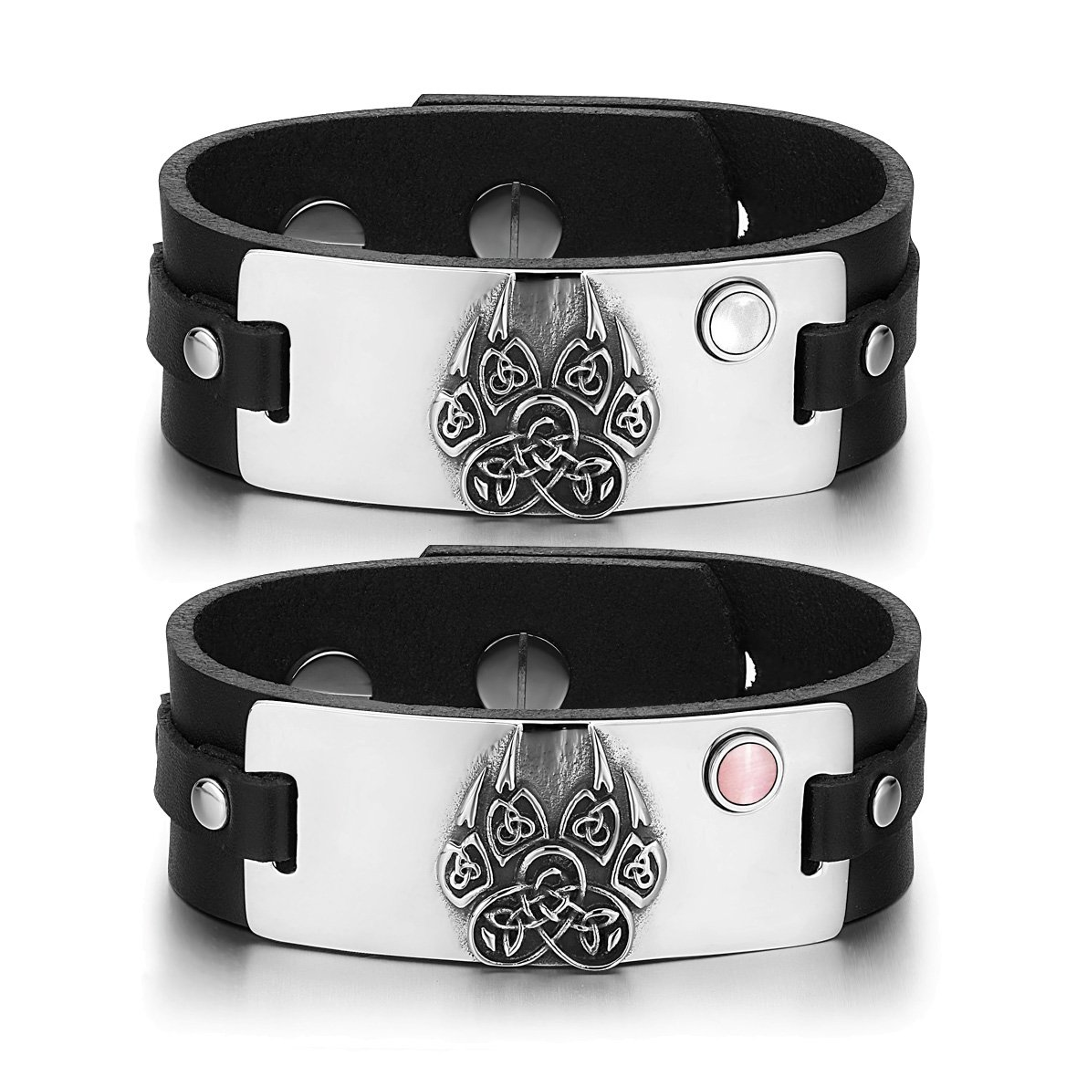 Aztecs Celtic Knots Wolf Paw Amulets Love White Pink Simulated Cats Eye Black Leather Bracelets