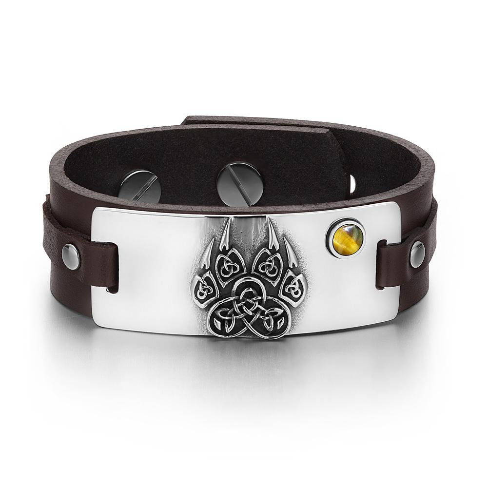 Aztecs Ancient Celtic Knots Wolf Paw Amulet Tiger Eye Gemstone Dark Brown Leather Bracelet