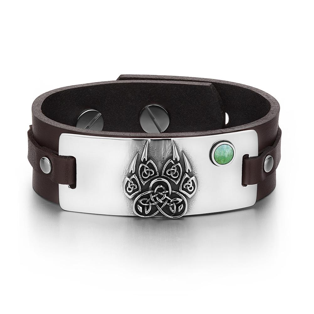 Aztecs Ancient Celtic Knots Wolf Paw Amulet Green Quartz Gemstone Adjustable Brown Leather Bracelet