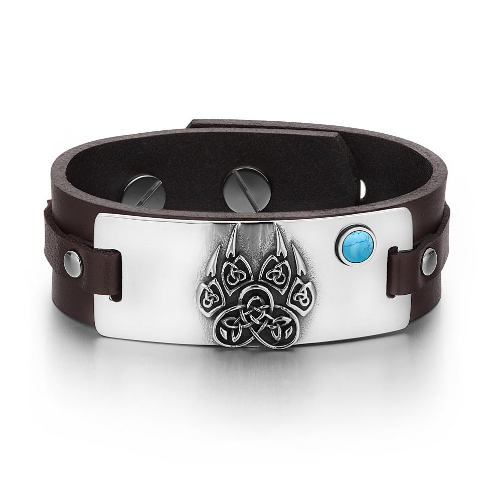 Aztecs Ancient Celtic Knots Wolf Paw Amulet Simulated Turquoise Adjustable Brown Leather Bracelet