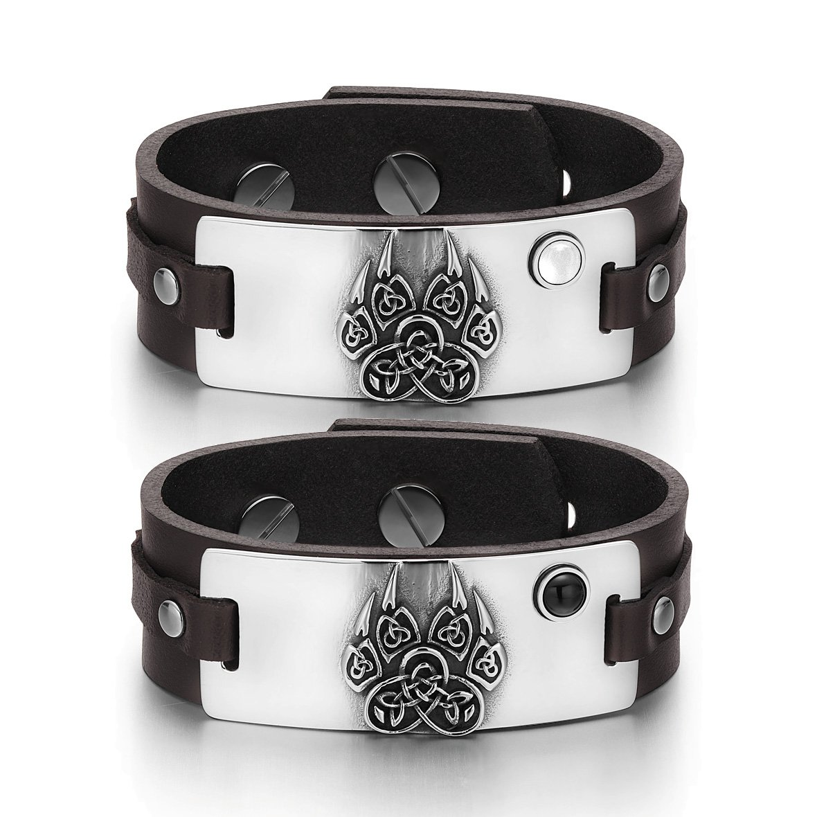 Aztecs Celtic Knots Wolf Paw Love White Simulated Cats Eye Simulated Onyx Brown Leather Bracelets
