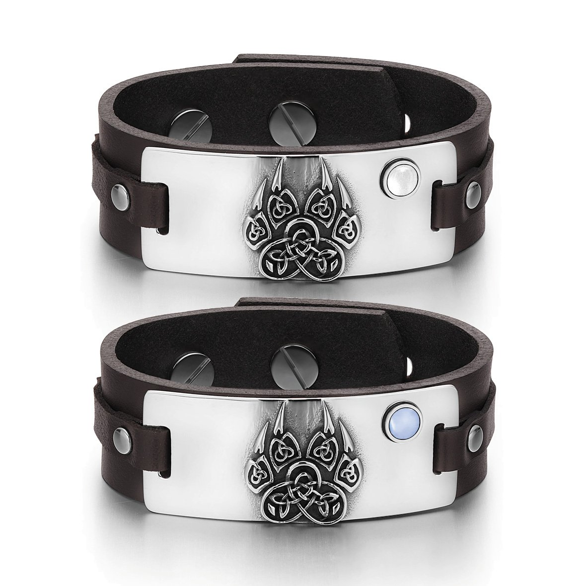 Aztecs Celtic Knots Wolf Paw Amulets Love White Blue Simulated Cats Eye Brown Leather Bracelets