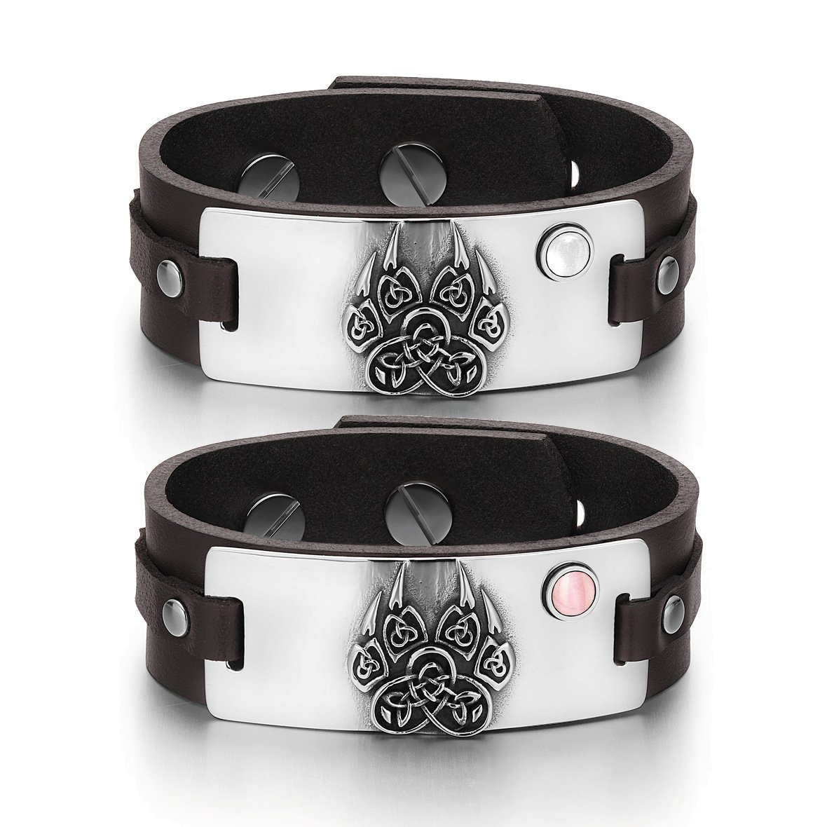 Aztecs Celtic Knots Wolf Paw Amulets Love White Pink Simulated Cats Eye Brown Leather Bracelets