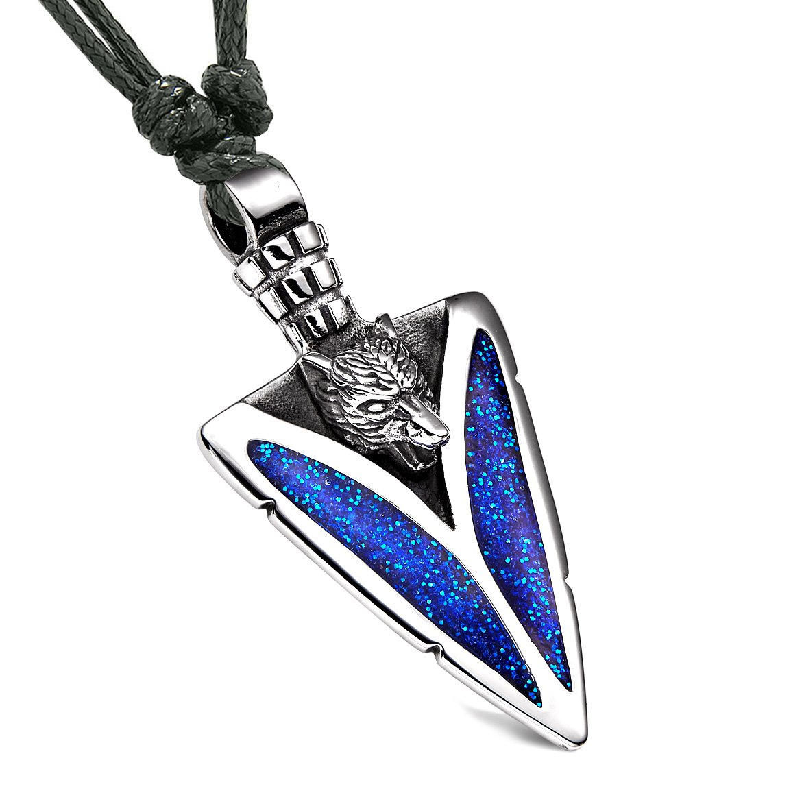 Arrowhead Howling Wolf Courage Powers Protection Amulet Sparkling Royal Blue Pendant Adjustable Necklace