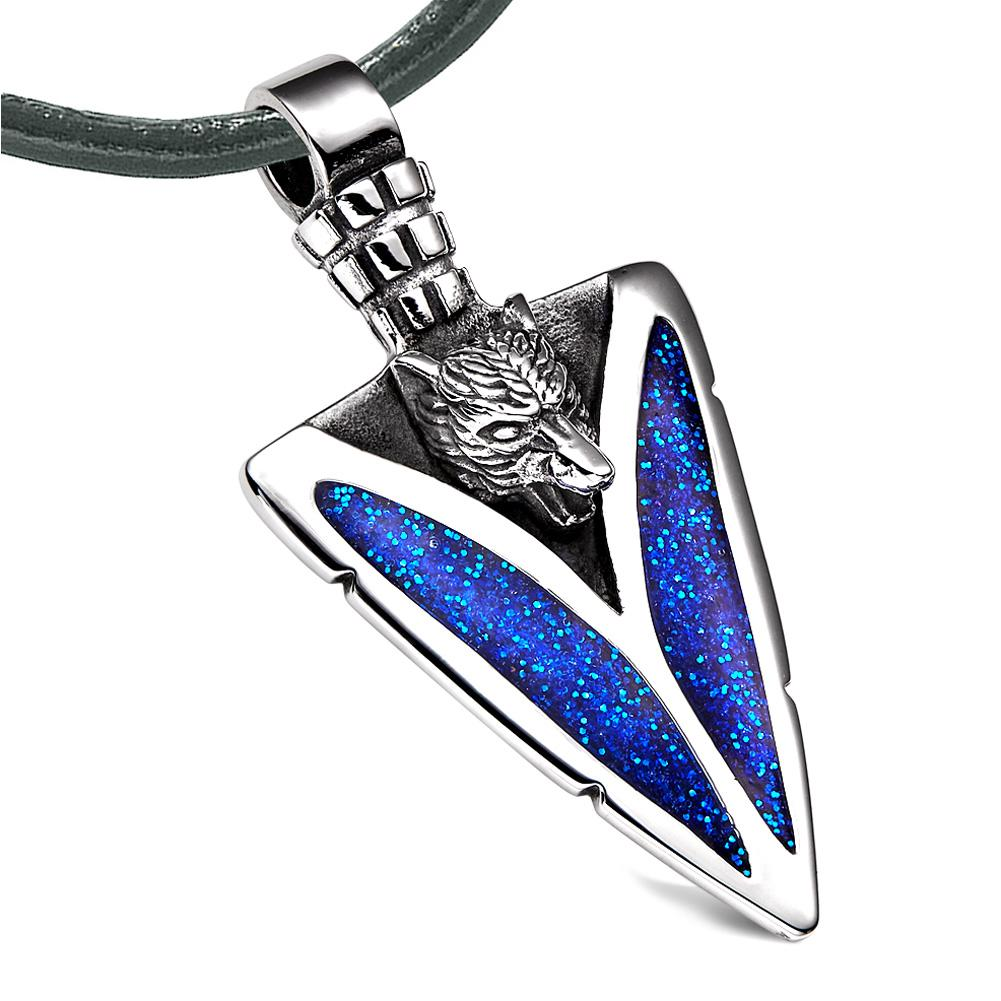 Arrowhead Howling Wolf Courage Powers Protection Amulet Sparkling Royal Blue Pendant Leather Necklace