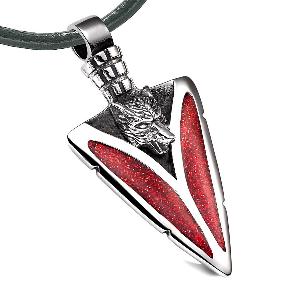 Arrowhead Howling Wolf Courage Powers Protection Amulet Sparkling Royal Red Pendant Leather Necklace
