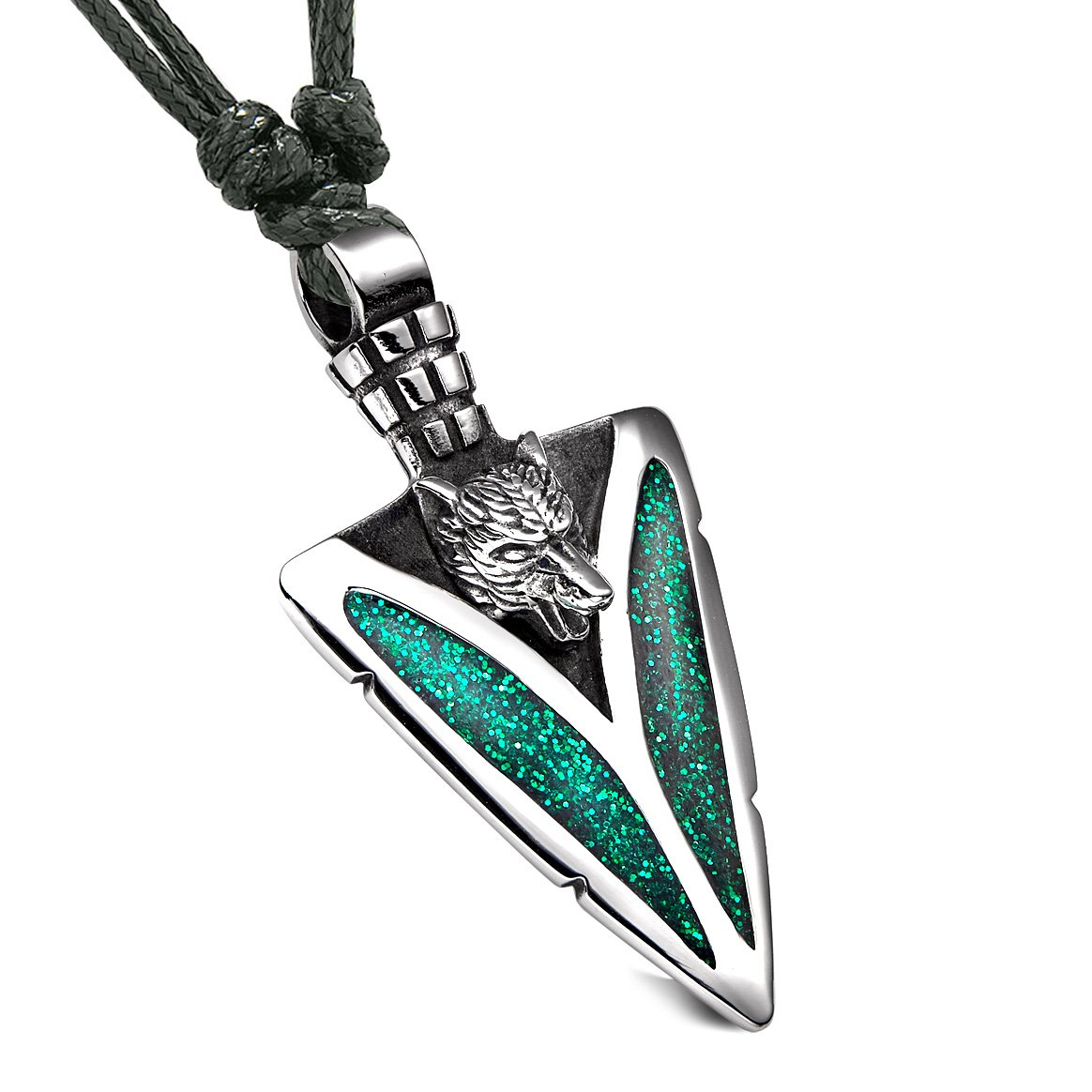 Arrowhead Howling Wolf Courage Powers Protection Amulet Sparkling Royal Green Pendant Adjustable Necklace